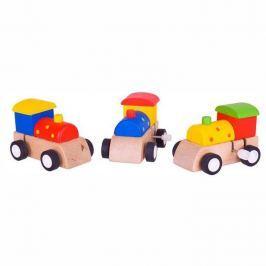 Dřevěné hračky - Barevná mašinka na natahování