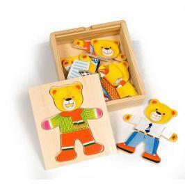 Bigjigs Toys Dřevěné oblékací puzzle v krabičce - Pan Medvěd