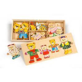Bigjigs Toys oblékací puzzle v krabičce - Medvědí rodinka