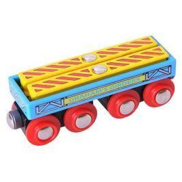 Bigjigs vláčkodráha - Vagónek se dvěma nosníkama + koleje