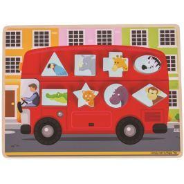 Bigjigs Toys vkládací puzzle - Autobus se zvířátky
