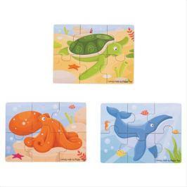 Bigjigs Toys puzzle 3v1 mořské zvířátka