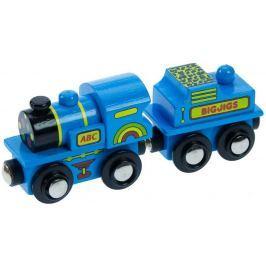 Vláček Bigjigs - Modrá mašinka s tendrem + 2 koleje