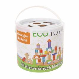 ECO TOYS Dřevěné kostky v kyblíku  - 50 kusů