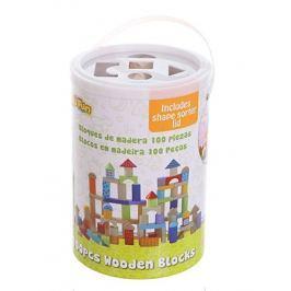 ECO TOYS Dřevěné kostky v kyblíku  - 100 kusů