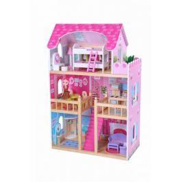ECO TOYS Dřevěný domek pro panenky  - malinová rezidence