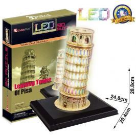 CubicFun Puzzle 3D Šikmá věž v Pizze LED 15 dílků