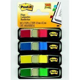 3M POSTIT Záložky se zásobníkem, 4x35 lístků, 12x44 mm, mix barev,