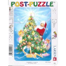 LARSEN Puzzle Vánoční přání - Santa se stromečkem