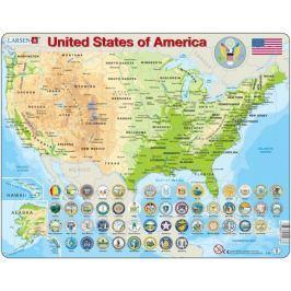 LARSEN Puzzle USA - zeměpisná mapa (anglicky) 90 dílků