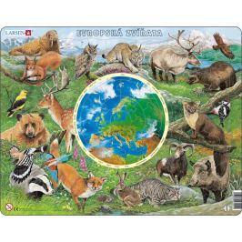 LARSEN Výukové puzzle  90 dílků - Evropská zvířata