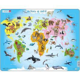 LARSEN Deskové puzzle  28 dílků - Zvířata ve světě