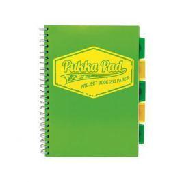 PUKKA PAD Blok Project book Neon, zelená, A4, čtverečkovaný, 100 listů, spirálová vazba,