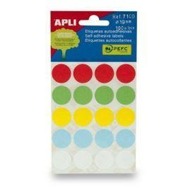 APLI Etikety, různé barvy, 19 mm kruhové, 100 etiket/balení,