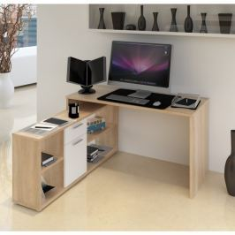 Tempo Kondela PC stůl, dub sonoma / bílá, NOE NEW