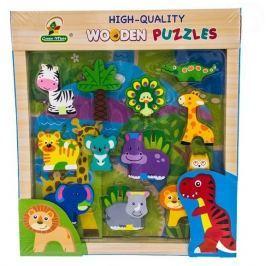 EURO BABY Dřevěné zábavné puzzle vkládací  - Jungle