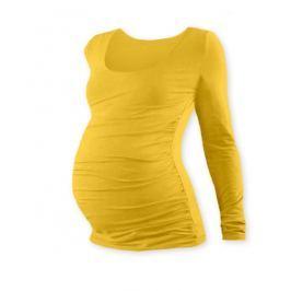 Vyrobeno v ČR Těhotenské triko JOHANKA s dlouhým rukávem - žlutooranžová, L/XL