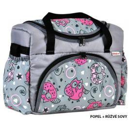 taška na pleny S2 popel + růžové sovy