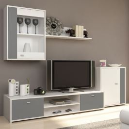 Tempo Kondela Obývací stěna, bílá / šedá, GENTA