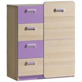 Tempo Kondela Komoda, 1 dveřová se 4 zásuvkami, jasan/fialová, EGO L6