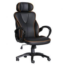 Tempo Kondela Kancelářská židle, ekokůže černá / oranžový lem, SEDRIK