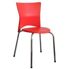 Tempo Kondela Jídelní židle , chrom + plast , červená , BRISA