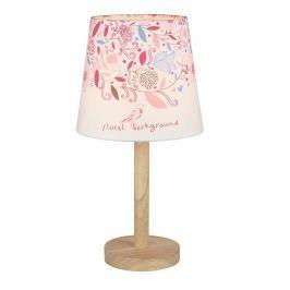 Tempo Kondela Stolní lampa, dřevo / látka vzor květy, QENNY TYP 8