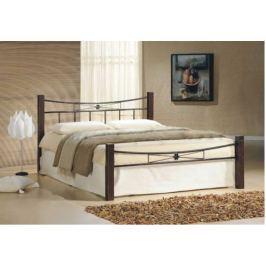 Tempo Kondela Manželská postel, dřevo ořech/černý kov, 160x200, PAULA
