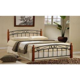 Tempo Kondela Manželská postel, dřevo třešeň/černý kov, 160x200, DOLORES