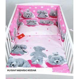Povlečení + mantinely do postýlky - plyšoví medvídci růžová