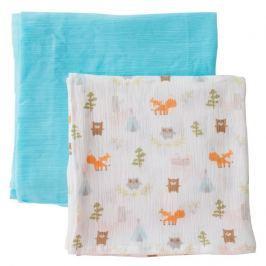 SUMMER INFANT SwaddleMe mušelínová přikrývka 2ks modrá/lesní motiv