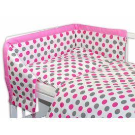 Baby Nellys Mantinel s povlečením  ® Puntíky Baby - růžový, 135x100