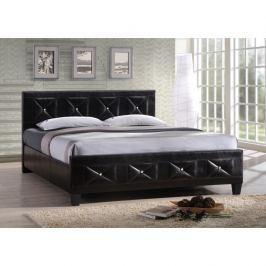 Tempo Kondela Manželská postel, s roštem, ekokůže černá, 180x200, CARISA