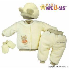 Baby Nellys Chlupáčkový komplet Sweet Bear  ® - krémový, 62 (2-3m)