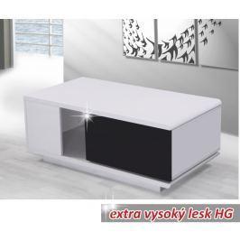 Tempo Kondela Konferenční stolek, MDF, bíla / černá extra vysoký lesk, Demba CT300