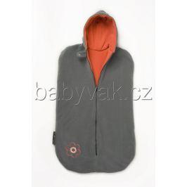 Babyvak Spacák fleecový bez rukávů šedá/oranžová