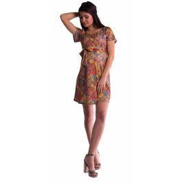Be MaaMaaa Těhotenské šaty s květinovým potiskem s mašlí  - cihlový, S