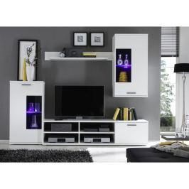 Tempo Kondela Obývací stěna, s osvětlením, bílá/čiré sklo, FRONTAL 1