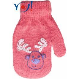 YO ! Kojenecké dívčí akrylové  rukavičky YO - lososově/červená, 10cm rukavičky