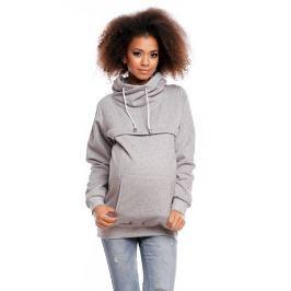 Těhotenská mikina s roláčkem DORA - světle šedá, M
