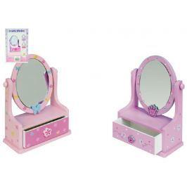 Teddies Zrcadlo šperkovnice zásuvka dřevo 16,2x24,2x8,5cm asst 3 barvy v krabici