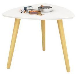 Tempo Kondela Příruční stolek, bílá/přírodní dřevo, TAVAS