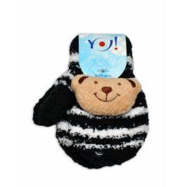 YO ! Zimní kojenecké  froté rukavičky se šňůrkou YO - černé/bélé - medvídek, 12cm rukavičky