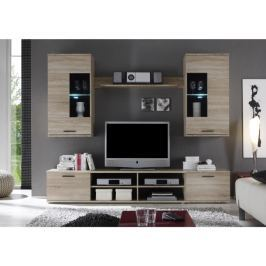 Tempo Kondela Obývací stěna, s osvětlením, dub sonoma/čiré sklo, FRONTAL 2