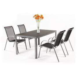 Garland - nábytek Garland Vergio 4+ sestava nábytku z hliníku (1x stůl Frankie + 4x židle Vera Basic)