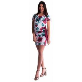 Be MaaMaaa Těhotenské a kojící šaty s květinovým potiskem, s mašlí - červené/bordó, XS