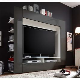 Tempo Kondela luxusní TV a media stěna, černá / extra vysoký lesk, MEDI TV