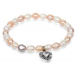 JwL Luxury Pearls Jemný náramek z pravých perel s kovovým srdíčkem JL0293