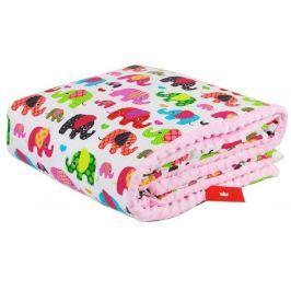 Velká deka na hraní 100/150 sloni růžová