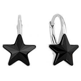 Silvego stříbrné náušnice se Swarovski(R) Crystals černá hvězda